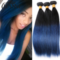 Brazilian Straight Hair dark roots blue ends human hair 3bundles remy hair blue ombre weave 2 tone blue weft HANNE Colorful Hair