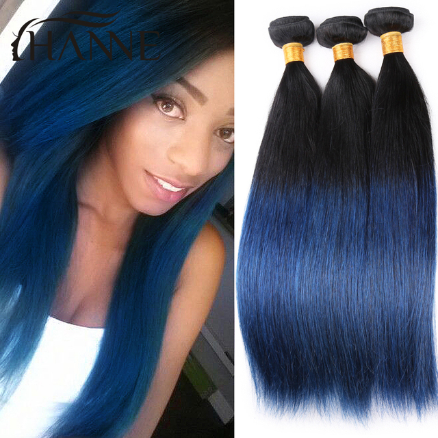 Brazilian Straight Hair Dark Roots Blue Ends Human Hair 3bundles
