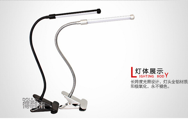 1pcs/lot Led Eye protection Two levels brightness switch dimmer reading table Desk Lamp with metal Clip