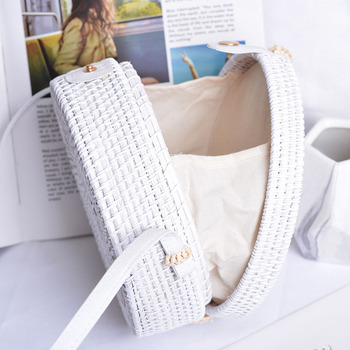 Beach White Hollow Out Stars Women Shoulder Bags Handmade Woven Circle Rattan Bag Summer Holiday Female Crossbody Bags B411 2