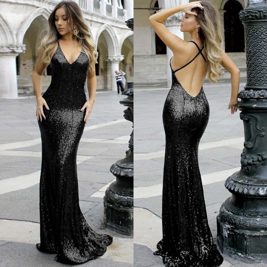 2019 Sequin Sexy Long Dress for Woman Mermaid Evening Dress V neck Evening Gowns Robe de soiree Cheap High quality custom