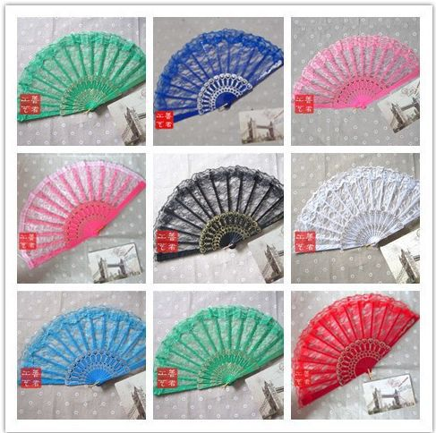 Hot sell free shipping 100pcs lot colorful wedding lace hand folding fan for bride with 5colors