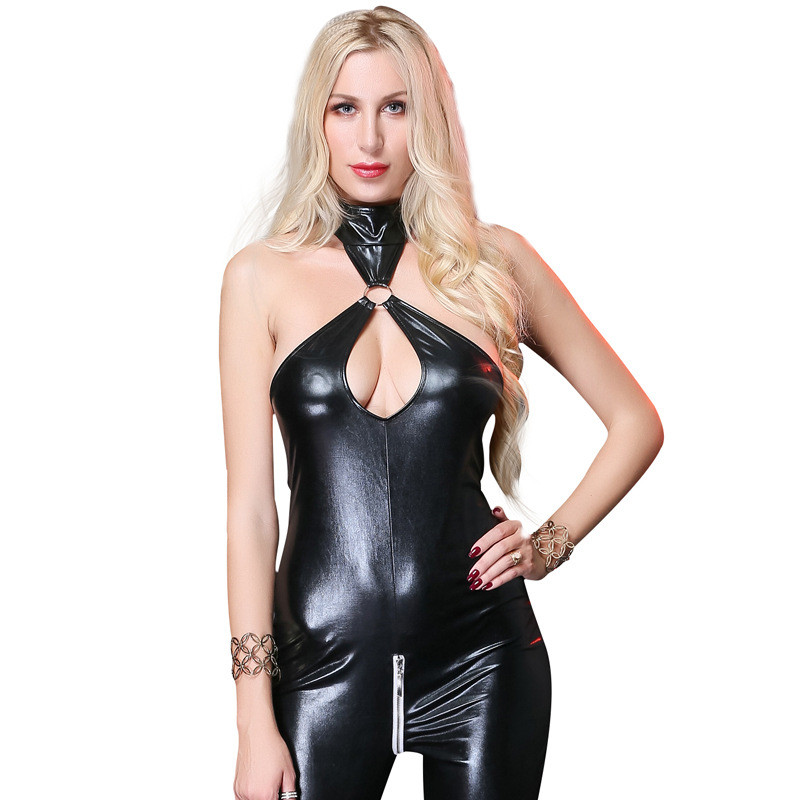Drop Shipping Women Leather Halter Neck Corset Top Leotard Bodysuit Clubwear Jumpsuit M/XL/2XL