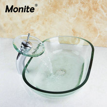 Monite Single Handle Keran Air Terjun Keran Wastafel Kamar Mandi Wastafel Kaca Tangan Cat Toilet Mandi Wastafel Set Mixer Faucet(China)
