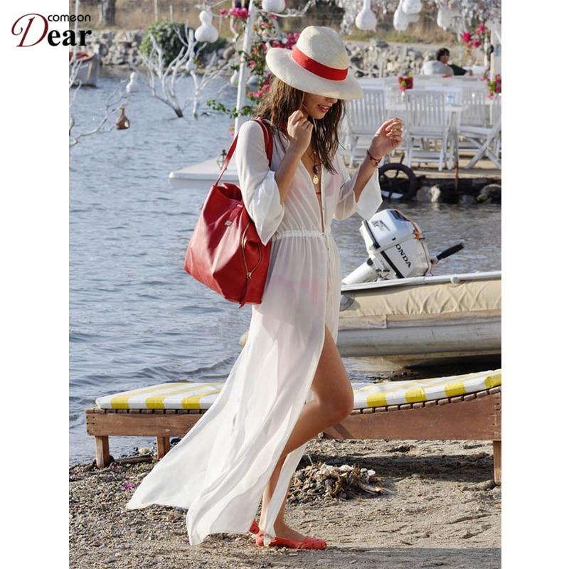 Comeondear Bílá průhledná plážová anketa Délka Sexy - Dámské oblečení