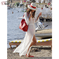 B246 White See Through Beach Skirt Anklet Length Swim Suit Cover Up Shirt Style New Arrival