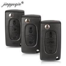 Jingyuqin 10 Uds 2/3 botones coche caso clave para Peugeot 207, 307, 308, 407, 607, 807 para Citroen C2 C3 C4 C5 C6 Flip de la llave del coche