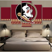 Modular Wall Painting 5 Panel Florida State Seminoles Modern Poster Abstract Art Oil Painting on Canvas Pictures For Living Room
