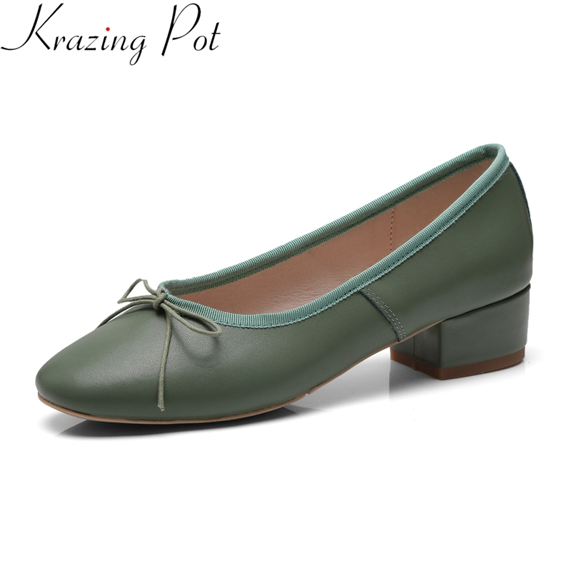 Krazing Pot 2019 genuine leather slip on round toe med heels butterfly knot women pumps concise