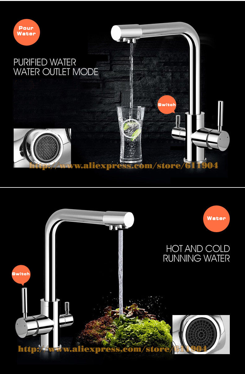 Brass Tri Flow Ro Pure Water Kitchen Faucet 3 Three Way Filler ...