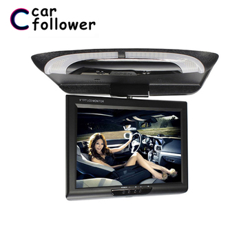 Car Monitor 9 Inch Ceiling TV For Car HD Digital Panel TFT LCD Screen Multimedia Video Ceiling Roof Mount Display MP5 Player image