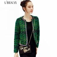 2018 Autumn Winter High Quality Wool Coat Short Tweed Jacket Female Fashion Female Outwear Green Coat