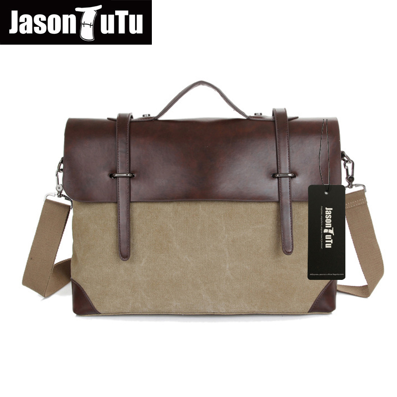 JASON TUTU Vintage Men Messenger Bags 2017 New male Satchel Canvas tote  Crossbody bag Leather Patchwork Handbags B144 casual canvas women men satchel shoulder bags high quality crossbody messenger bags men military travel bag business leisure bag