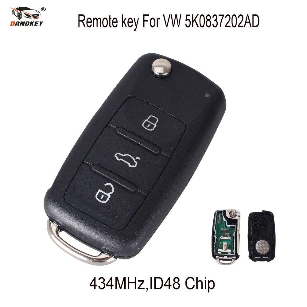 Dandkey 434mhz Id48 Chip 5k0837202ad Car Remote Key For Vw