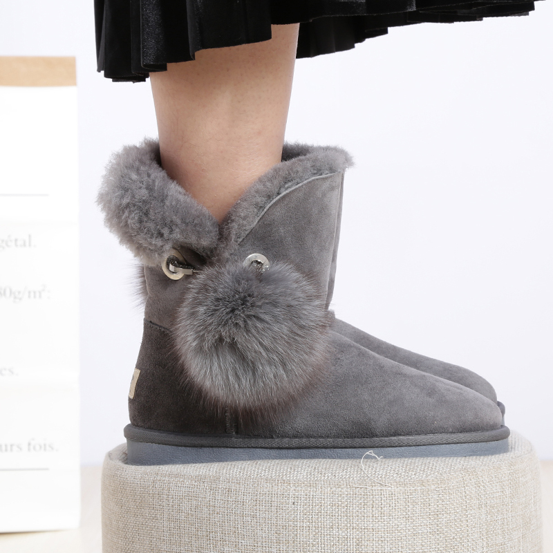 UBZ real sheepskin leather  women winter snow boots with button sheep fur lined woman winter shoes  35-43