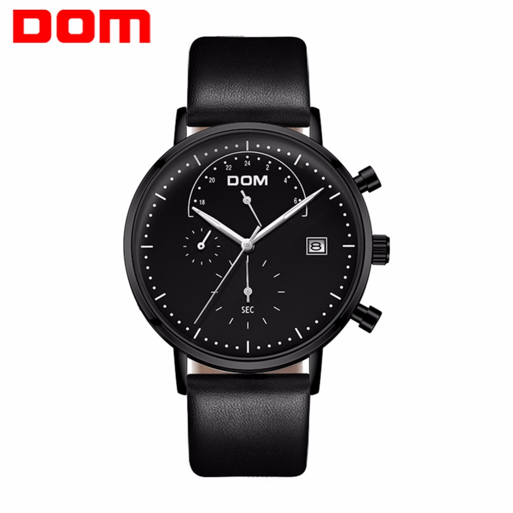 2018 DOM Men's Watches Waterproof Watch Leather Strap High Quality New Arrival Wrist Watches for Men Quartz Watches Clock hot new attractive high quality new arrival women quartz dial clock leather wrist watch round case fashion women s sports watches