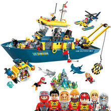 807Pcs Diving Yacht Series Toy Deep Sea Exploration Mission Ships City Building Blocks Enlighten Toys for Child