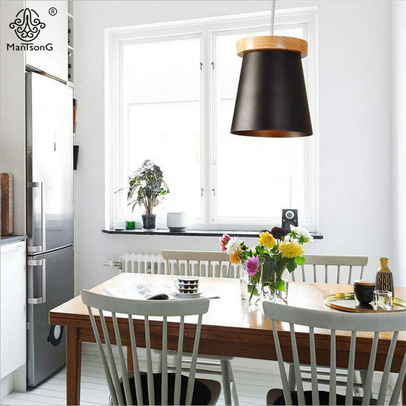 New Modern Pendant Light Vintage Black Round Wooden Iron Lamp Shade E27 Bulb Nordic Style Indoor Lighting for Bedroom Restaurant