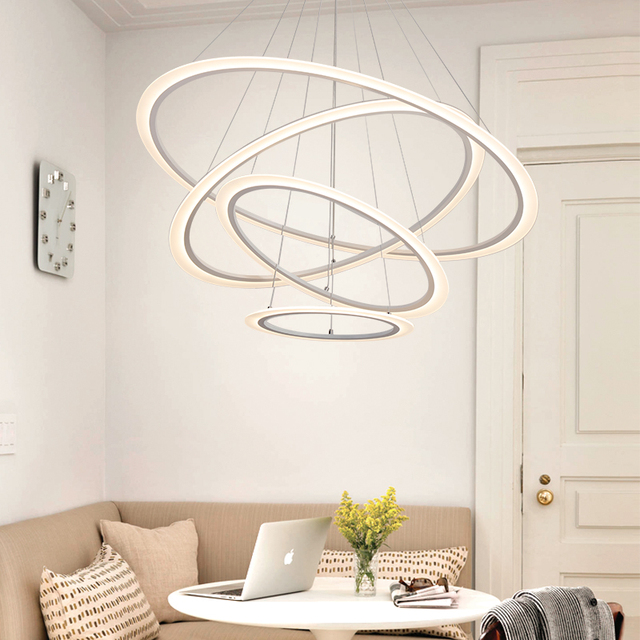 LICAN Modern Led lustre chandelier Acrylic Rings For Living Room Stainless Steel White Hanging Fixtures Adjustable Chandelier