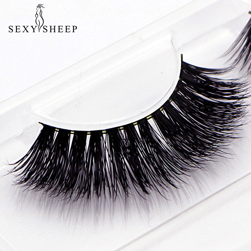 SEXYSHEEP Natural 3D 100% Mink False Eyelashes Thick Eyelash Extension Volume Long False Eyelashes Makeup Cilia Soft Fake Lashes