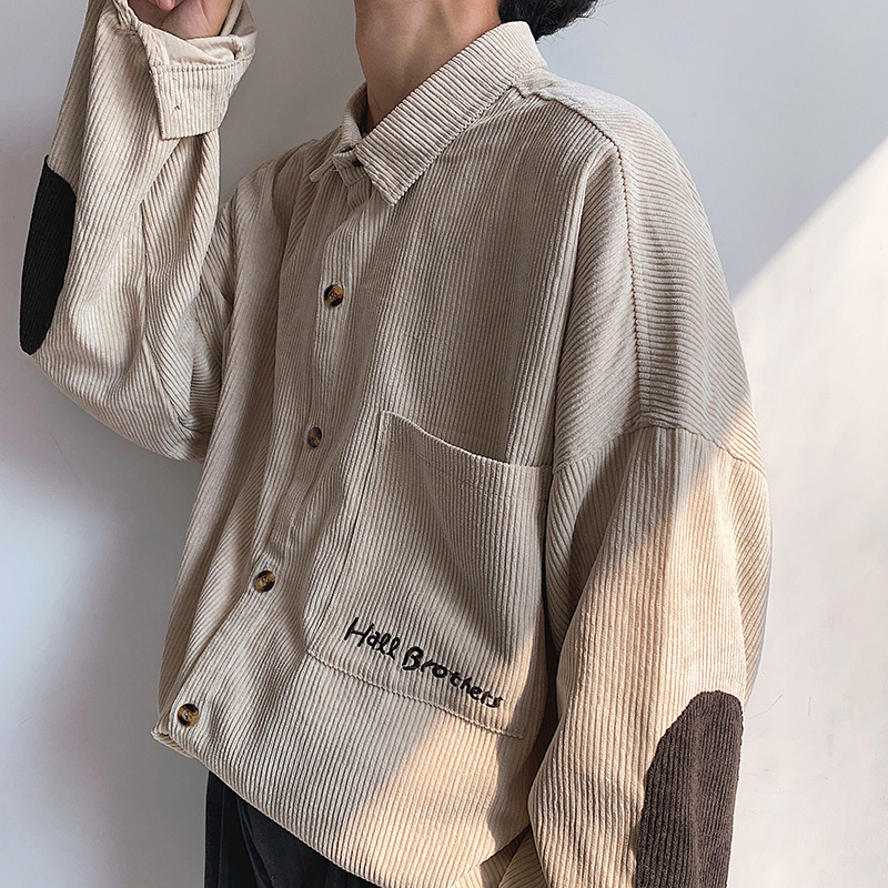 2019 Autumn Men's Korean Version Of The Trend Loose Literary Solid Color Student Casual Long-sleeved Corduroy Embroidered Shirt