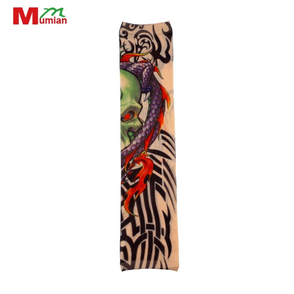 1Pcs Universal Fake Tattoo Elastic Arm Sleeve Sport Accessory Skins Sun Protective For Cycling Camping Running