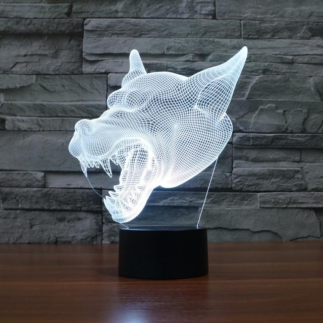 3D Luz de La Noche del Lobo hombre lobo Werwolf Cambio de 7 Colores LED Lámpara de Mesa de Escritorio Como la Decoración Del Hogar