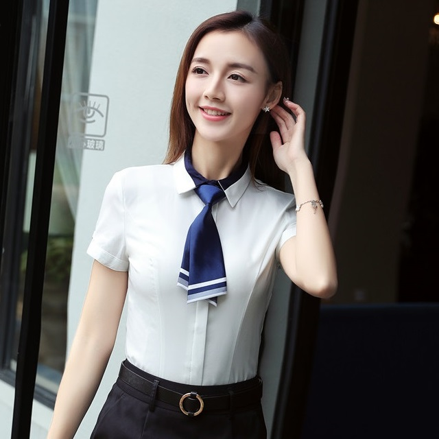 Summer Formal Women Blouses Shirts With Tie Short Sleeve Work Wear