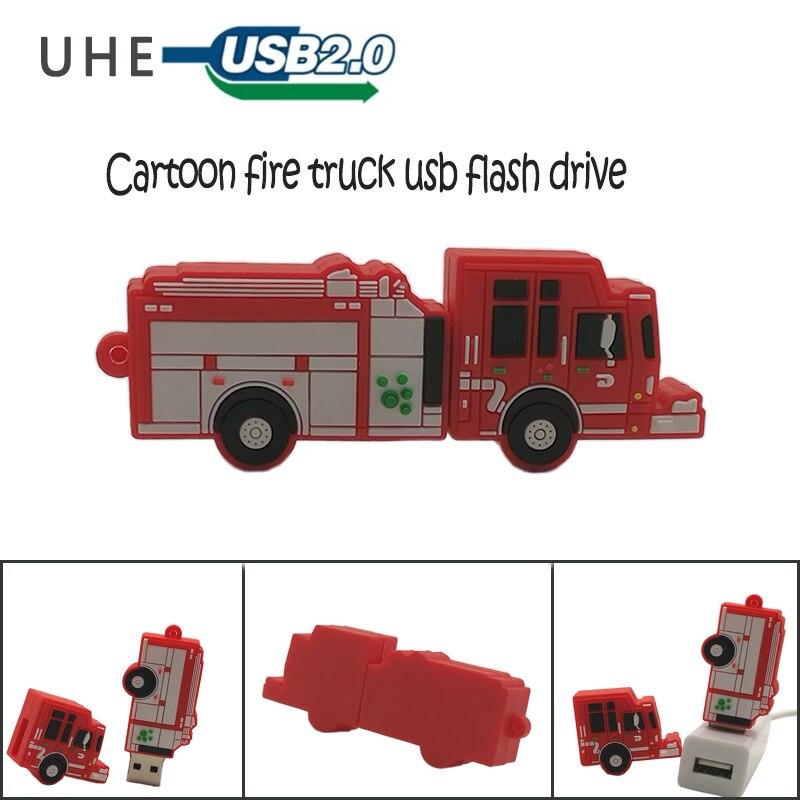 USB Flash Drive Cartoon Fire Truck Pen Drive 4GB 8GB 16GB 32GB 64GB Cute Memory Stick U Disk Personalized Gift Pendrive Usb2.0