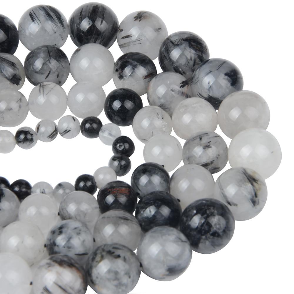 Black Rutilated Quartzs Natural Stone Beads Women Jewelry Fashion Making Beads 6 8 10 12 14mm