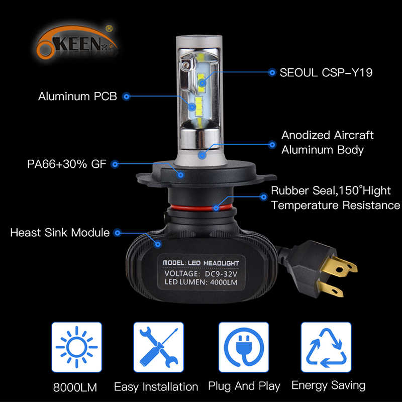 OKEEN 2pcs Car S1 Super LED Headlight Lamp H7 H4 H11 H3 HB3 9005 H8 Led 9006 with CSP Chip Bulb 50W 8000lm 6000K LED Bulbs Auto