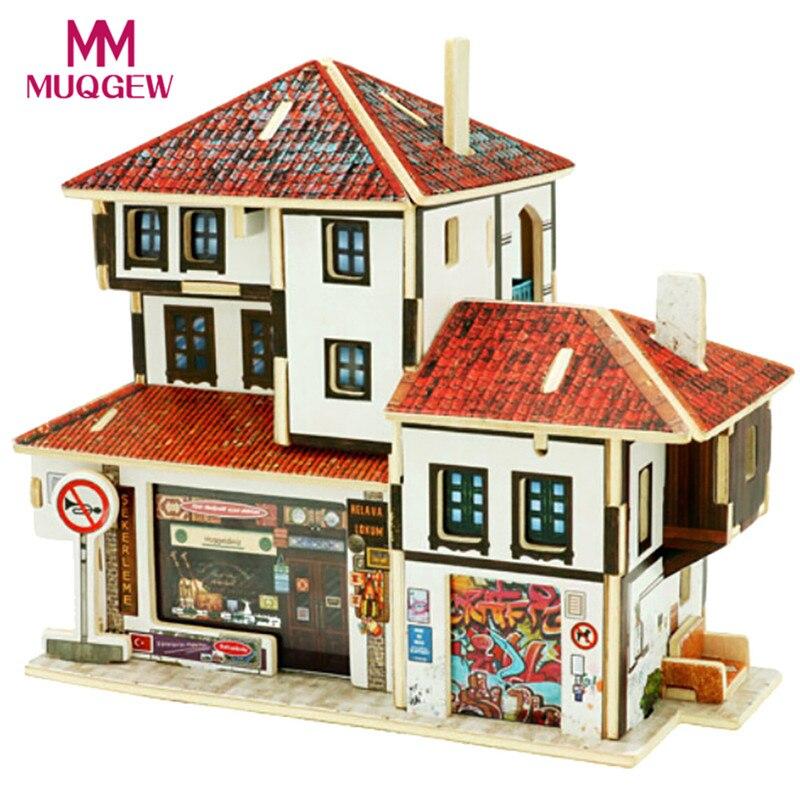 Acheter BRICOLAGE En Bois Maison Fille Garçon cadeau D'anniversaire Meubles Artisanat Miniature Boîte Creative Cadeaux De Noël 3D Modèle de Construction 2017 de gift gifts fiable fournisseurs