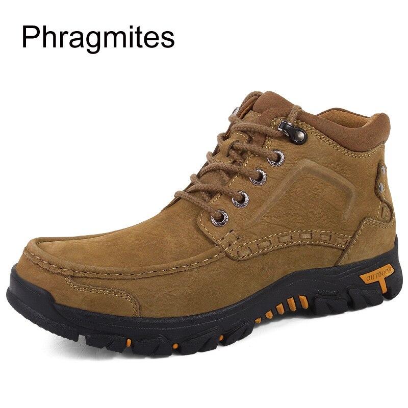 Phragmites marka wysokiej jakości mężczyźni buty na zewnątrz antypoślizgowe piesze wycieczki buty zimowe ciepły śnieg męskie buty skórzane zimowe buty robocze w Obuwie robocze i ochronne od Buty na  Grupa 2