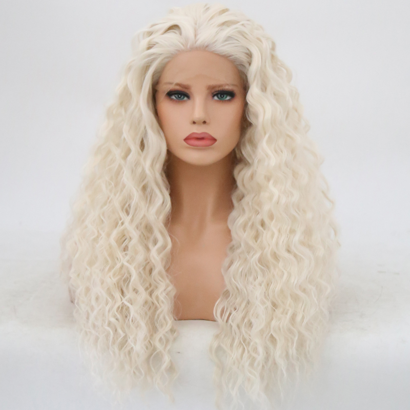 Bombshell White Water Wave Hand Tied Synthetic Lace Front Wig Heat Resistant Fiber Hair Free Parting
