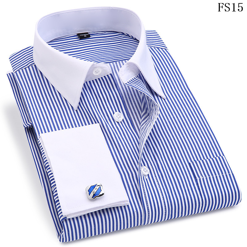 HTB156T8VYPpK1RjSZFFq6y5PpXa6 - High Quality Striped Men French Cufflinks Casual Dress Shirts Long Sleeved