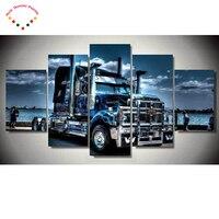 5D Diamond Painting Cross Stitch Mosaic Home Decoration Diy Full Diamond Embroidery Truck 5 Pcs Wall