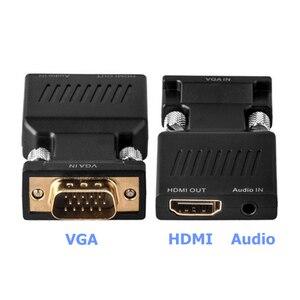 Image 2 - Adaptador VGA macho a HDMI hembra con salida de Audio de 3,5mm Cable HDTV de 1080P convertidor AV para PC Notebook proyector Monitor