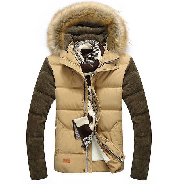 Free Shipping Contrast Color Mens Winter Jackets Men's Parka Fur hood Men Coat Winter Casual & Fit Thick Man Cotton coat Jacket