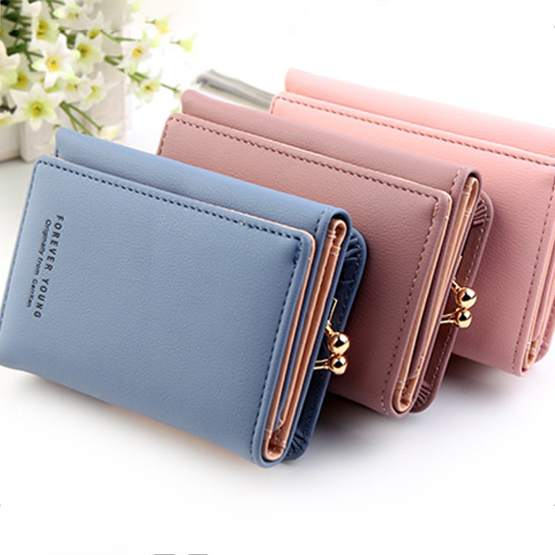 New Portable Lady Short Lovely Wallet Women Solid Color Mini Money Purses Small Fold PU Leather Female Coin Purse Card Holder
