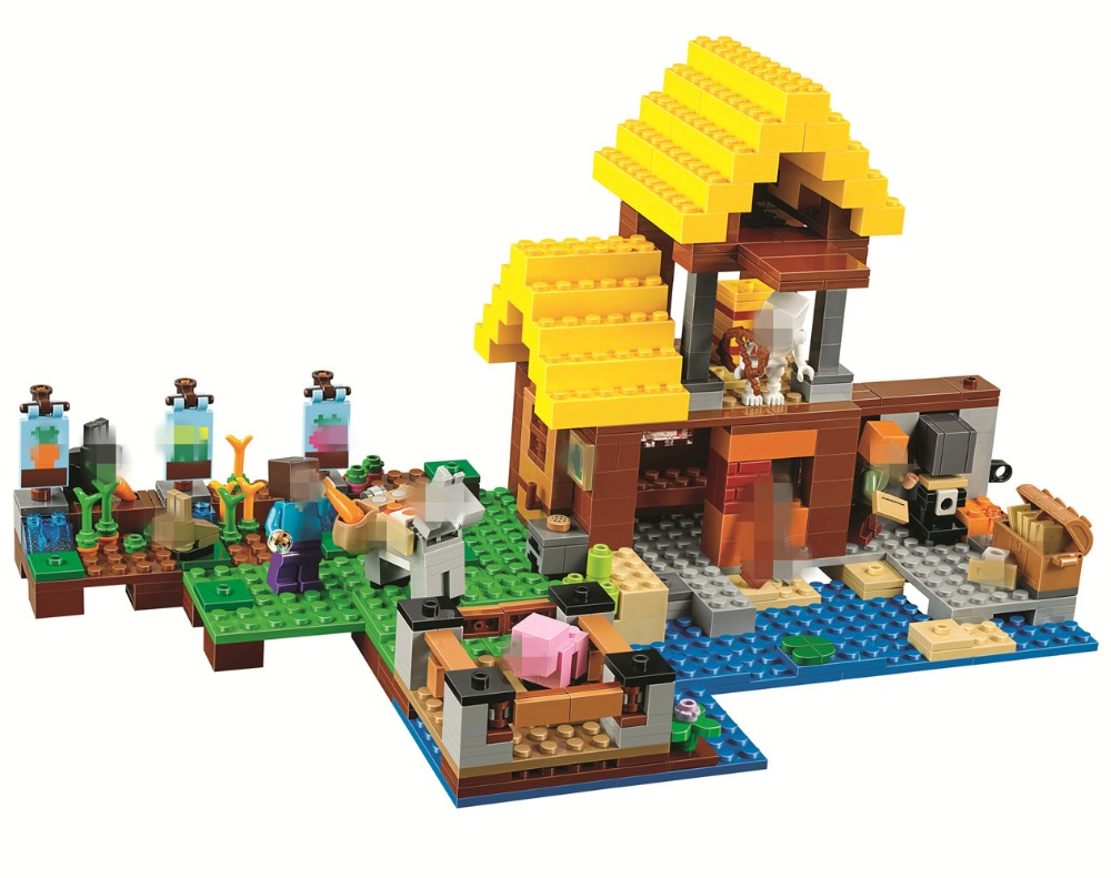 BELA The Farm Cottage Building Blocks Sets Bricks Movie Classic Model Kids Minecrafted Toys For Children Compatible Legoe 449pcs bela 10295 laval s fire lion model diy building blocks for children sets classic bricks toys compatible with lego