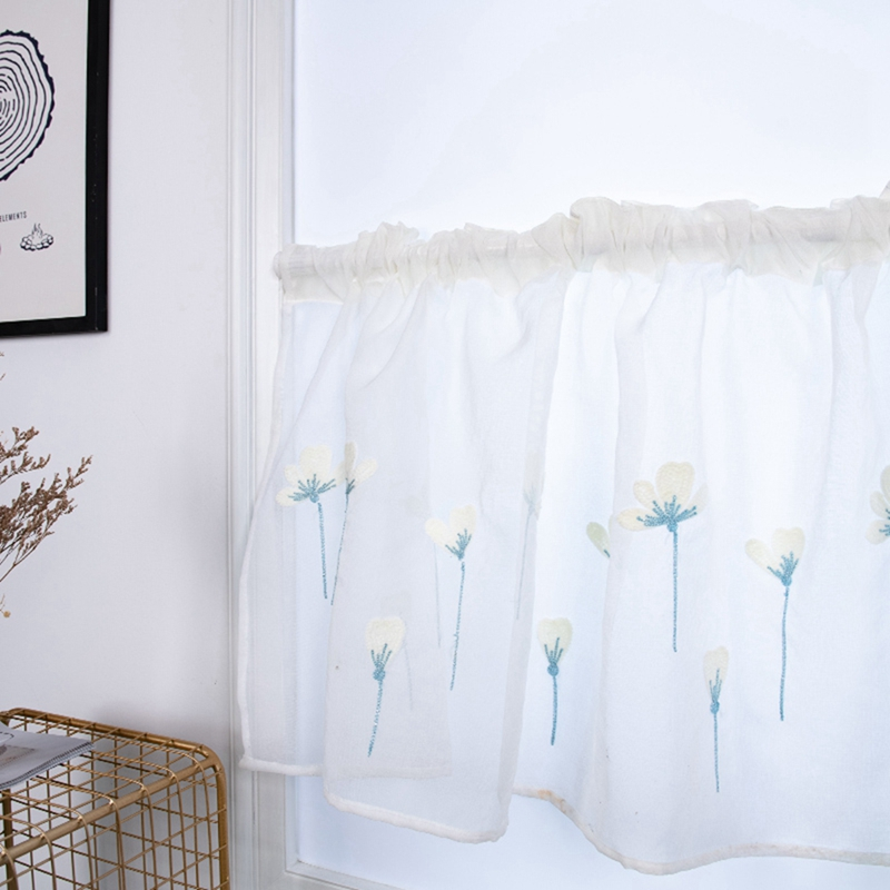 Rod Pocket Embroidered Kapok Flowers Semi Tier Curtain Short Curtain For Kitchen Bathroom Living Room