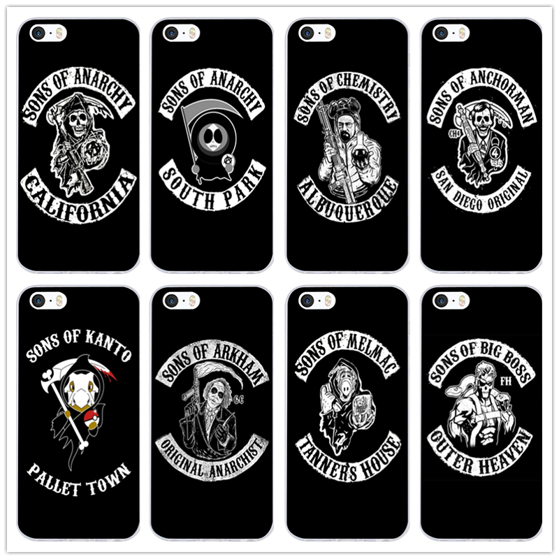 online store 2ae6f a2c87 US $1.99 |Fashion Sons of Anarchy Soft TPU Silicone Transparent Mobile  Phone Case for iPhone X 10 8 7 Plus 6 6S Plus 5 5S SE 5C 4 4S Shell-in ...