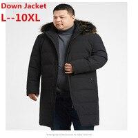 Плюс 10XL 9XL 8XL 6XL зима 90% куртка на гусином пуху мужской пуховик утепленное пальто большой меховой воротник жесткая зимняя водонепроницаемая в