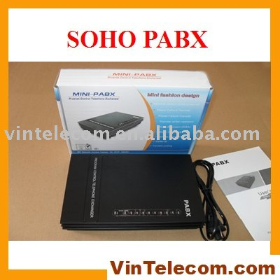 SOHO PBX / Small PBX / MINI PABX / PABX-for small businss solution-Promotion new 3 lines 8ext pbx telephone switch mini pabx soho pbx small pabx free shipping
