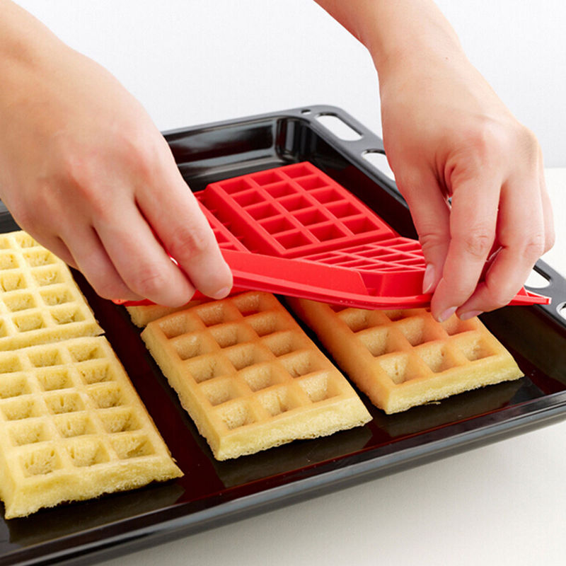 New 1 X Safety 4-Cavity Waffles Cake Chocolate Pan Silicone Mold Baking Mould Cooking Tools Kitchen Accessories Supplies
