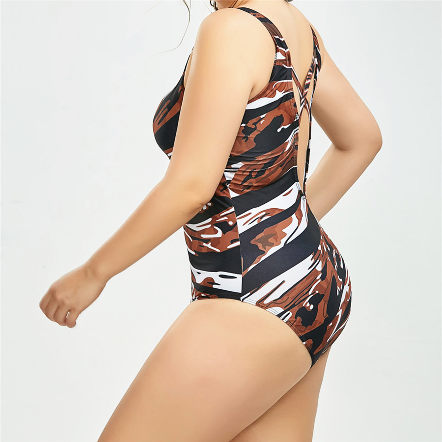 UMLIFE 5XL Large Big Plus Size Swimwear For Women Sexy One Piece Swimsuit Print Solid Push Up Beach Bathing Suit Bodysuit in Body Suits from Sports Entertainment
