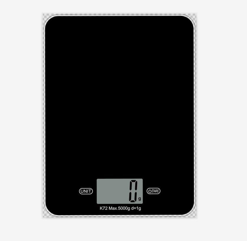 Max 5kg division 1g LCD display 45*23mm 3mm tempered glass platfrom super slim design kitchen scale model No. K72Max 5kg division 1g LCD display 45*23mm 3mm tempered glass platfrom super slim design kitchen scale model No. K72