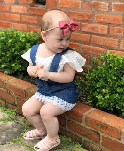 PUDCOCO encaje recién nacido niños bebé niña fuera del hombro Top falda de mezclilla trajes ropa 0-3 T soporte de EE. UU. al por mayor
