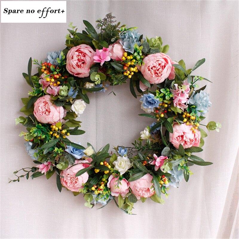 Parfait qualité Simulation bulle Daisy guirlande de fleurs décoration de pâques Porte Guirlande grande taille 55 cm Couronne De Fleurs Pour la maison