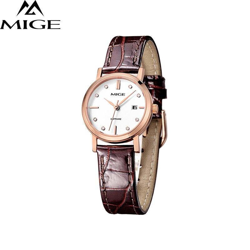 Mige 2017 Топ Модные кожаные женские часы коричневый ремешок бизнес водонепроницаемый белый тонкий Saphire циферблат Кварцевые женские наручные ч